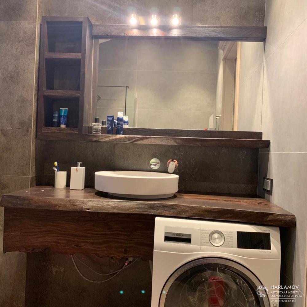 Столешница и зеркало в ванную комнату — WoodenSlab.ru