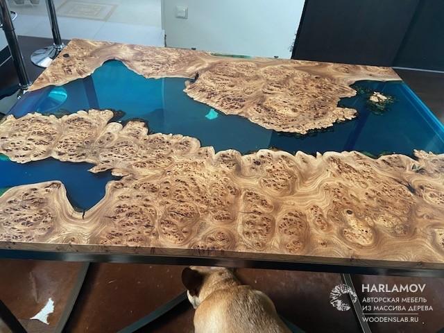 Журнальный стол «Река» из карагача — WoodenSlab.ru