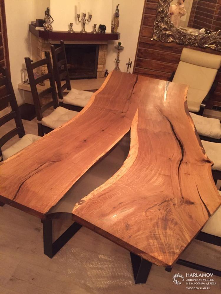Стол «Река» из дуба — WoodenSlab.ru