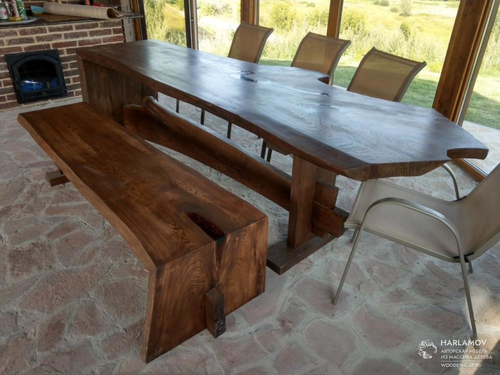 Стол и скамейка из карагача — WoodenSlab.ru