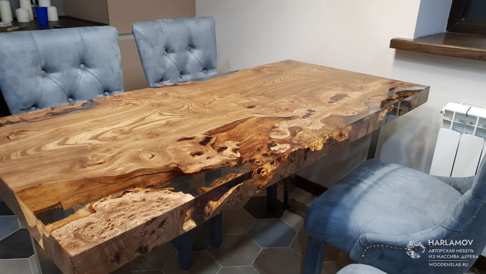 Авторский стол из слэба карагача — WoodenSlab.ru