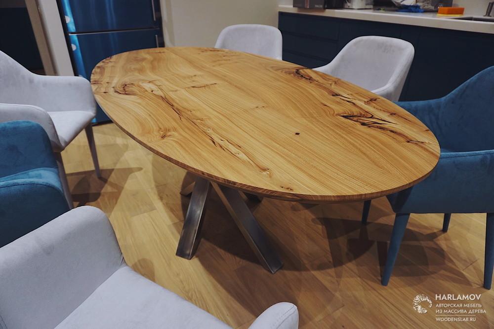 Овальный стол из карагача — WoodenSlab.ru