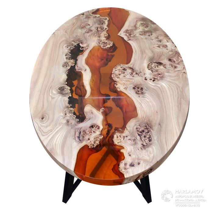 Овальный стол «Река» из карагача — WoodenSlab.ru