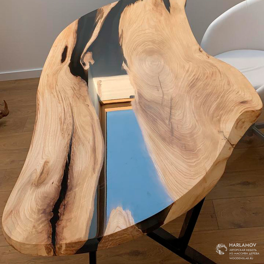 Рабочий стол «Река» из карагача — WoodenSlab.ru