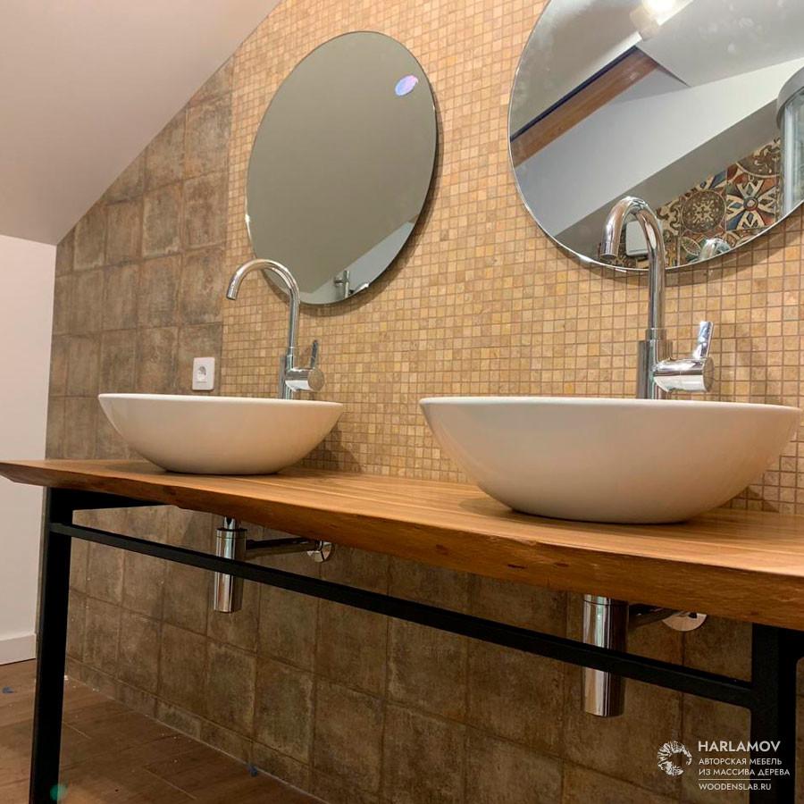 Консоль в ванную комнату из слэба карагача — WoodenSlab.ru