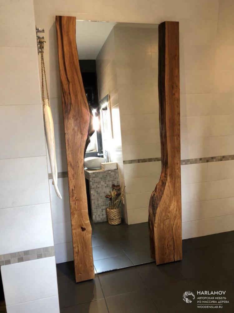 Зеркало в обрамлении из слэба дуба. — WoodenSlab.ru