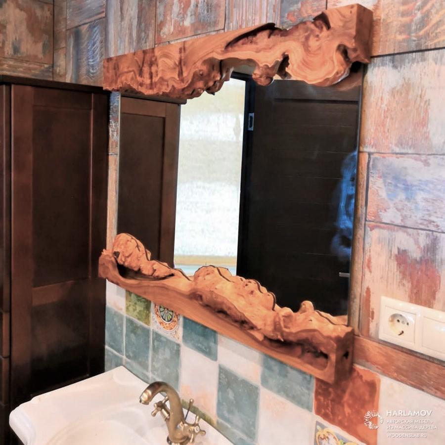 Зеркало в обрамлении из слэба карагача — WoodenSlab.ru